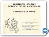 Carl's Certificate of Merit from training with Charlie Nelson